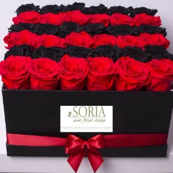 square box 36 rose red/dark  stabilizzate