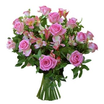 mazzo misto con rose rosa
