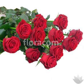 Mazzo di n. 11 rose rosse a stelo lungo.