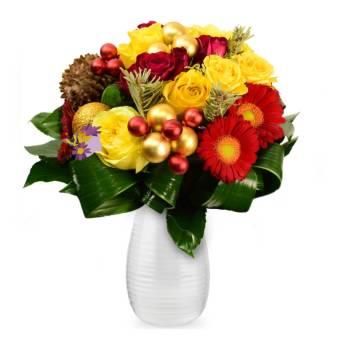 Bouquet natalizio giallo/rosso/arancio