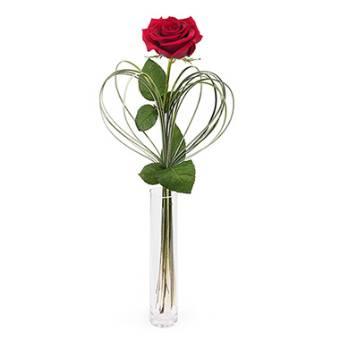 Rosa singola con vaso di vetro