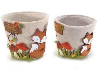 Copri vaso in panno con decorazioni volpe in set da 2 pz. Ass. in 2 misure