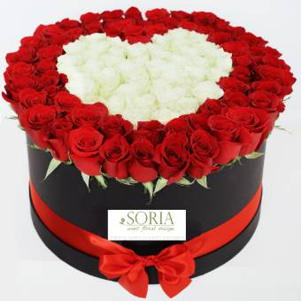 Red box 70 Rose decoro cuore