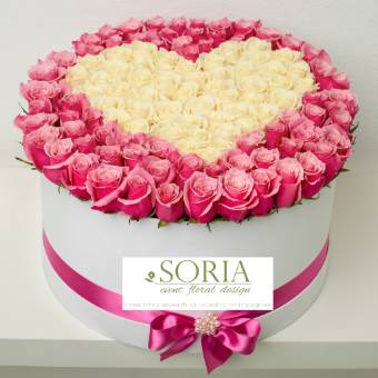 Pink box 70 Rose decoro cuore