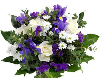Mazzo fiori in bianco e blu