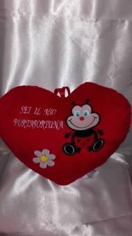 cuscino cuore grande con coccinella