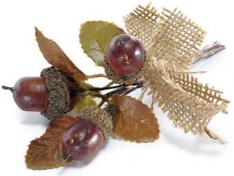 Mazzolino artificiale con ghiande e fiocco in juta cm 6 H (c/gambo 11,5) Ghianda
