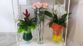 vaso in vetro con Anthurium Bianco o Guzmania in gel colorato