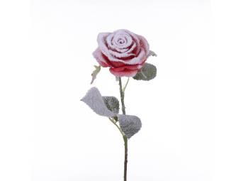 rosa artificiale in velluto con neve altezza 54 cm