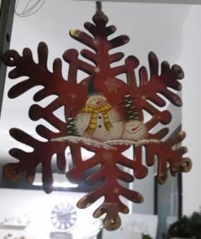 Fiocco di neve decorazione natale in legno