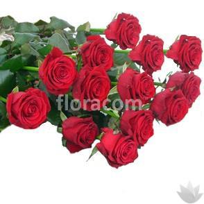 Mazzo di n. 13 rose rosse a stelo lungo.