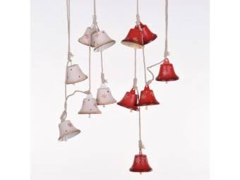 ghirlanda con campane metallo 120 cm per decorazioni albero di natale
