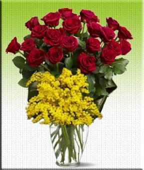 Mazzo con 5 rose ROSSE e MIMOSA