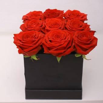 scatola quadrata con 9 rose
