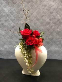 Cuore di rose stabilizzate